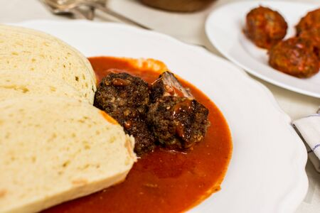 marinade: Czech traditional cuisine tomato soup with dumpling and meatball