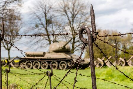 Czech defense fortification bunker and tank T34 from world war two Editorial