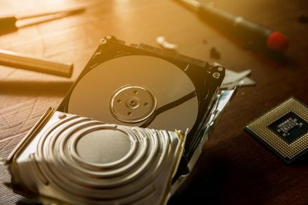 Broken and open computer or laptop hard drive Stok Fotoğraf