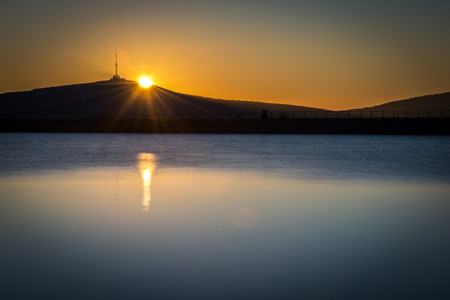 Sunrise over The highest mountain Praded of Czech mountains Jeseniky