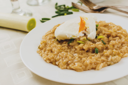 poached: Itaian risotto with leek and poached egg