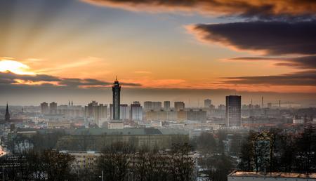 Czech republic city Ostrava in winter sunset