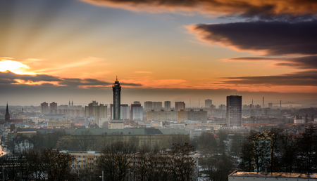 Czech republic city Ostrava in winter sunset