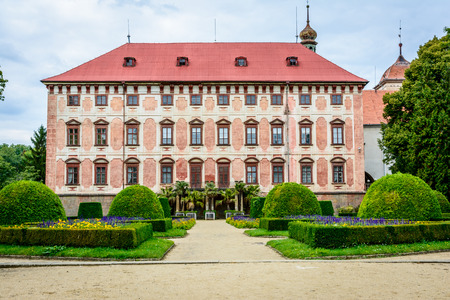 Czech baroque castle Libochovice in sunny day Editorial