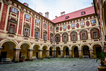 Czech baroque castle Libochovice in sunny day Stock Photo