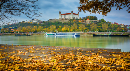 Castle in Bratislava over the river Dunabe , the capitol of Slovakia Stock Photo