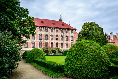 Czech baroque castle Libochovice in sunny day Editorial