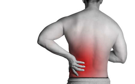 Muscle man with pain in his back. Red color zone is the pain. Medical concept on white background
