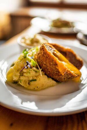 french cordon bleu with cheese chedar and potato