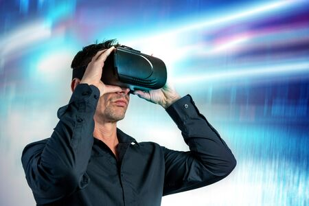 Male business  using black virtual reality headset glasses