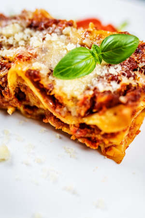 Traditional Italian pasta lasagna with minced meat, tomato and parmesan cheese