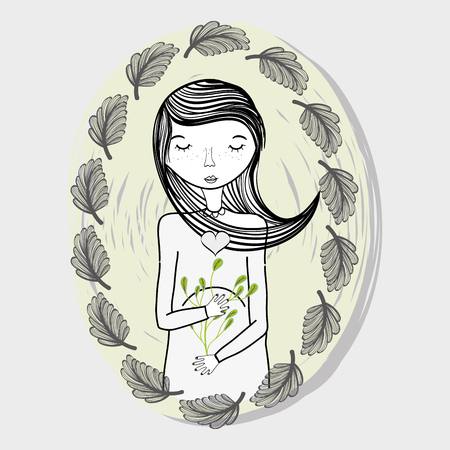 Design of pregnant woman with leaves, vector illustration