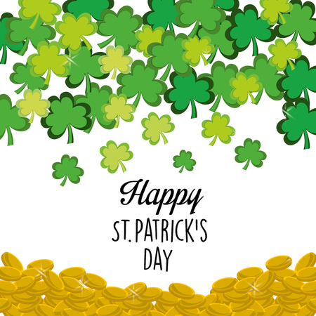 lucky clover: Cute happy St Patricks day icon