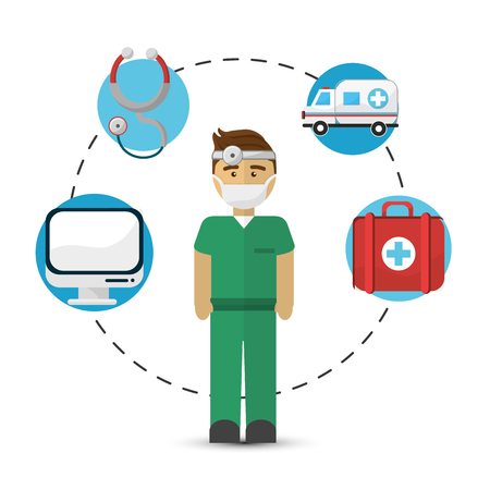 Cool hospital doctor with his tools icon Illustration