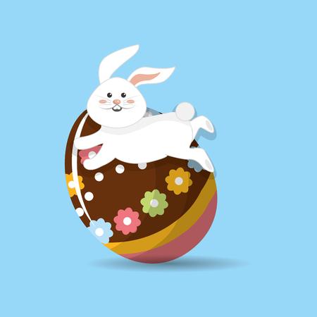 happy easter rabbit eggs day icon