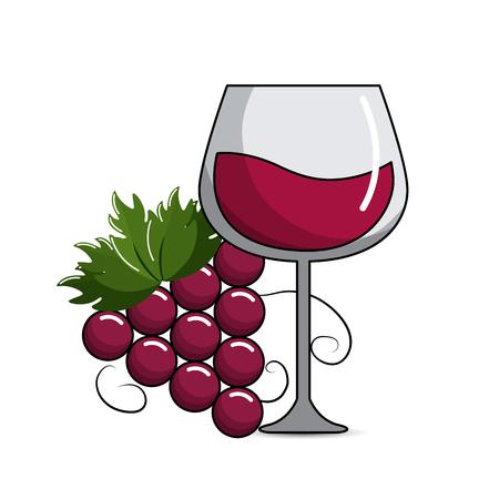Bicchiere di vino con icona di uva Vettoriali