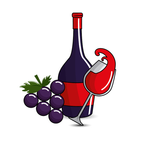glass splashing and bottles wine and grape icon