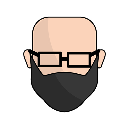 People, avatar face men with glasses icon