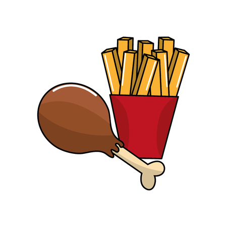 Cute chicken thigh and fries french icon Illustration