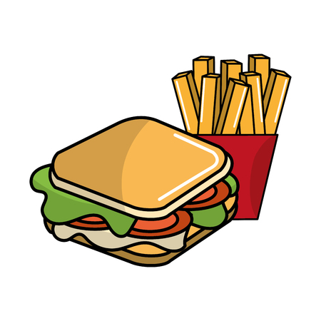 Cute sandwich with fries french icon