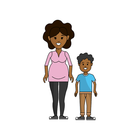 woman pregnant and her son icon Illustration