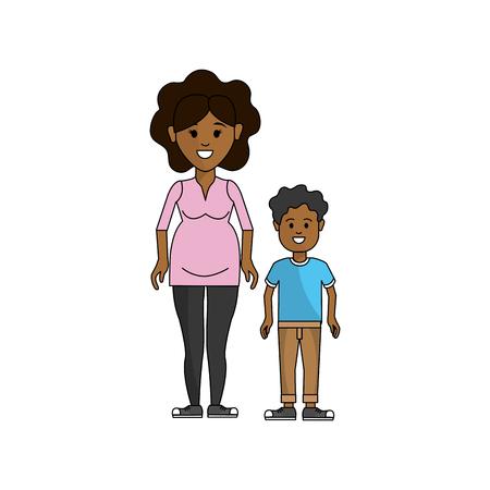 woman pregnant and her son icon Ilustração