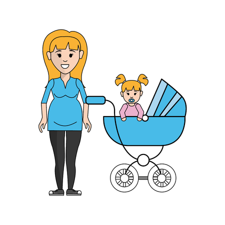 pregnancy exercise: Cute woman pregnant and her baby icon