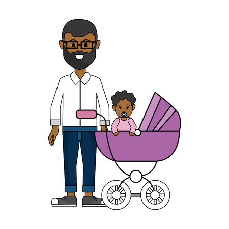Cute man with glasses and his baby icon