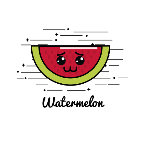 hostile: Cute emblem kawaii sad watermelon icon