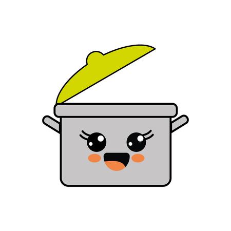 Cute kawaii happy cooking pot icon