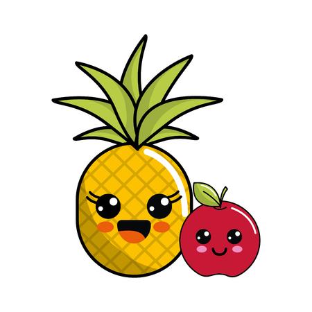 Cute kawaii happy pineapple and apple icon