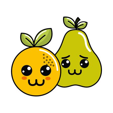 pears: Cute kawaii happy and sad orange and pear icon