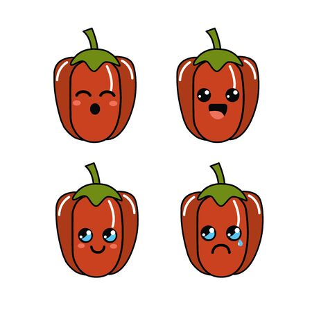 Cute kawaii faces pepper vegetable icon