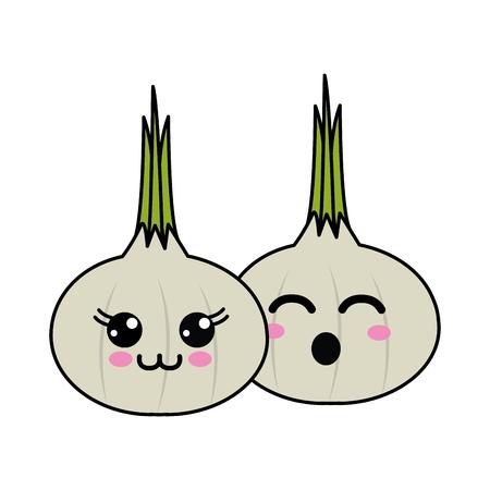 Cute kawaii happy and funny garlic vegetable icon