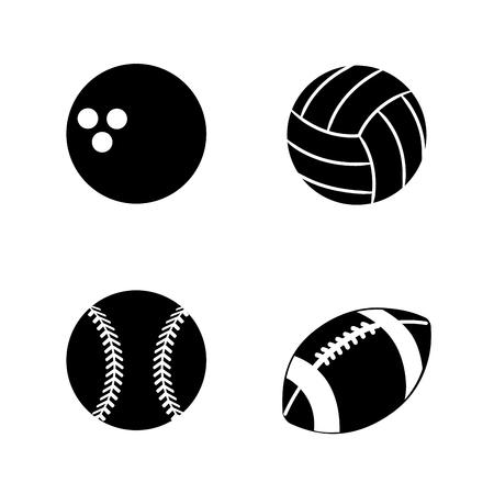 lila: Contour different plays balls icon Illustration