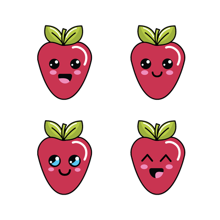 asian pear: strawberry diferents faces icon