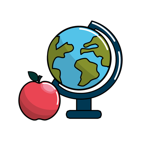 earth planet desk and apple icon Illustration