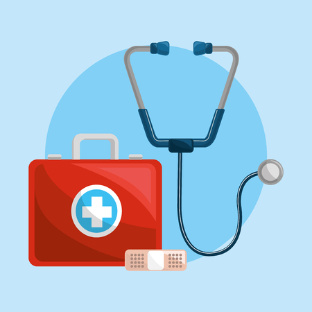 color healthcare, stethoscope and plaster icon