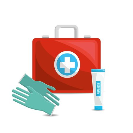 color healthcare, hospital gloves and toothpaste Illustration