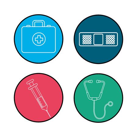 firstaid: hospital tools and first aid icon Illustration