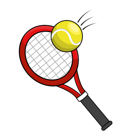 color racket and tennis ball icon
