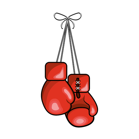 Realistic color boxing gloves hanging icon