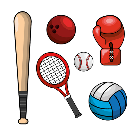 Realistic color different sport games icon