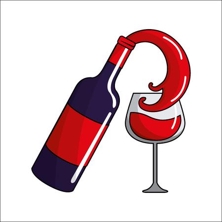 Realistic bottle splashing wine in the glass icon