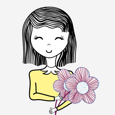 dcor: happy woman with flowers icon