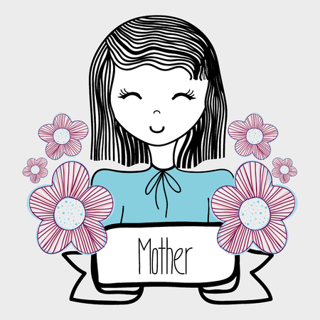 dcor: mother day, woman with flowers and ribbon