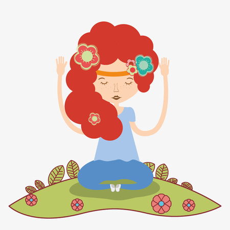 woman with hairstyle and meditation, vector illustration design Illustration