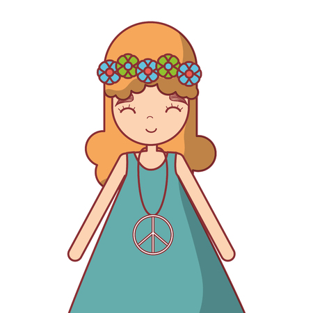 Hippie woman peace and love with flowers branches, vector illustration design