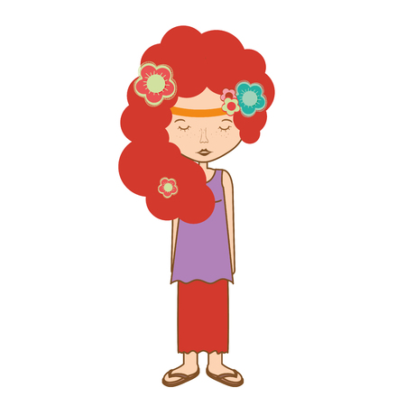 Woman relax meditation with flower, vector illustration design