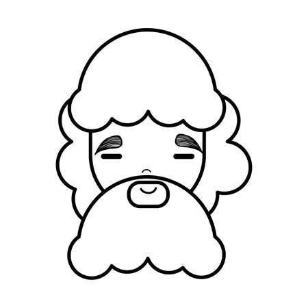 Face man with close eyes and long beard